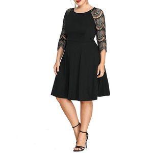 Dresses & Skirts - SALE❣️Plus Size Lace Sleeve Black Swing Dress,1-4X